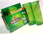 Six Pack Set of Recycled Heineken Beer Bottle Drinking Glass Cups