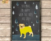 Cute Pug Collage on chalkboard background - typography Print