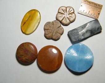 7 gemstone focal beads, set 2