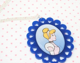 SALE Cinderella Illustration Necklace OOAK