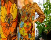 60s vintage Dress Mod true Mia bold Floral party designer size 11/12 spring summer costume