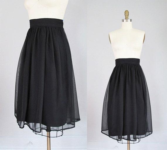 black CHIFFON midi skirt S M