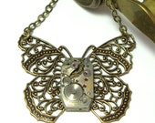 Filigree Butterfly Steampunk Necklace OOAK Vintage Watch Movement Wings Neo Victorian Designed By Mystic Pieces
