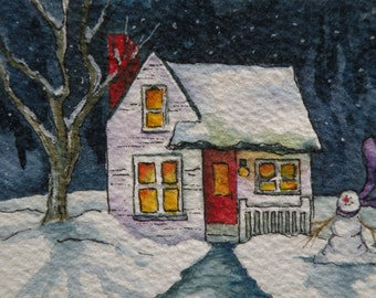 Snow Painting Winter Cottage Watercolor ACEO Artist Trading Card Original Art Card Winter Scene Art