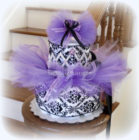 Tutu diaper cake baby shower centerpiece lavender girl nursery