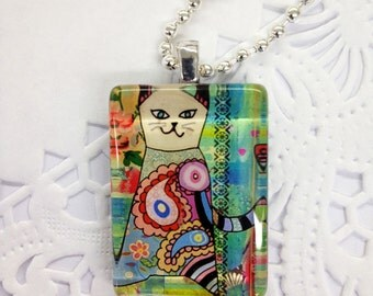 Patchwork Cat Glass Pendant with Chain