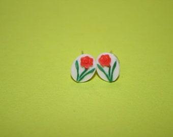 Tiny Red Daisy Cameo Earrings
