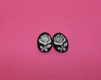 Tiny White Flower Cameo Earrings