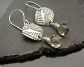 Earrings, silver,  topaz, artisan,  handmade , Tribute - Sterling Silver and Light Smokey Quartz Earrings