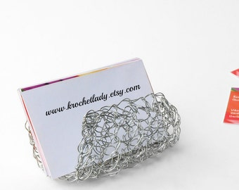 Business Card Holder, Silver Card Holder, Unique Card Holder