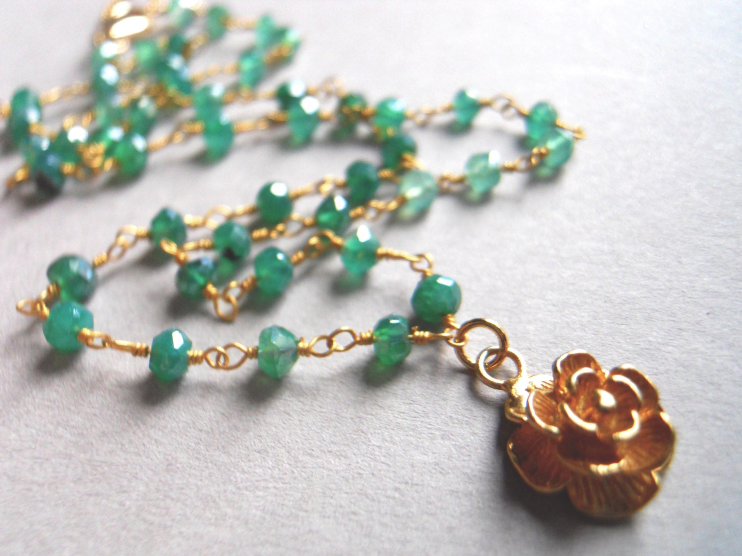 24K Gold Vermeil Rose Charm and Green Onyx Necklace / A Rose is a Rose - $125.00 USD