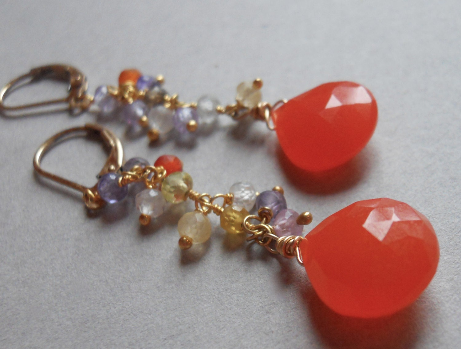 Sunshine nectarine chalcedony and gemstone long dangle earrings - $44.00 USD