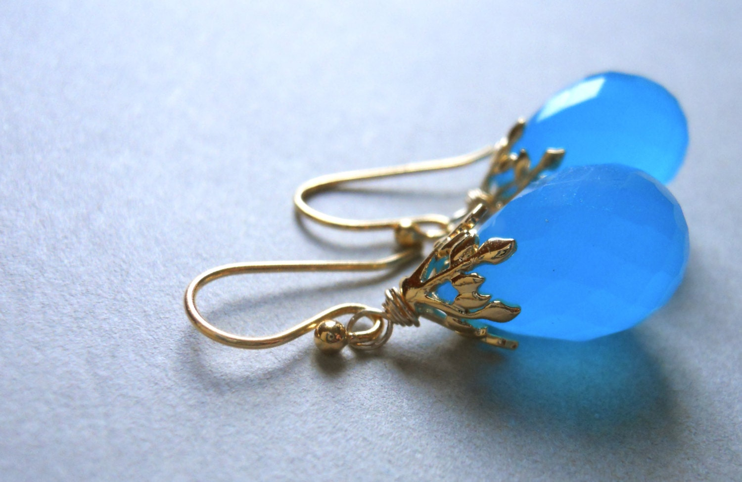 Fresh Air Bright Blue Chalcedony Teardrop Earrings Gold - $54.00 USD