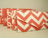 Set of Bridesmaid Clutches- 5 Envelope Purses--Coral and White Collection-Bridesmaid Gift  Bride Envelope Clutch  -- 10% Discount