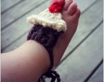 Download Now - CROCHET PATTERN Barefoot Baby Cupcake Sandals - One Size Fits All - Pattern PDF
