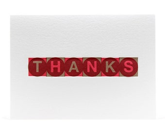 Thanks Block Note in Red & Brown