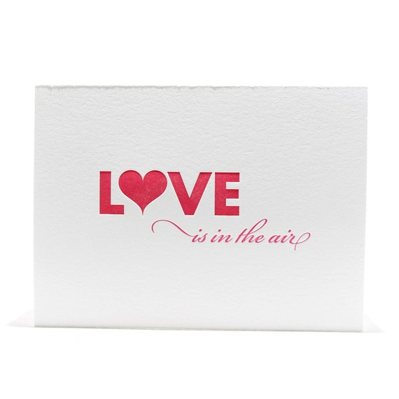 Valentine Letterpres Card Love is in the Air in Red and Magenta