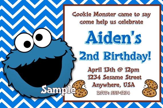 cookie monster birthday invitations diy digital printable, Birthday invitations