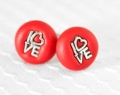Wedding Day Love Cufflinks in Red Polymer Clay Gift Set. Perfect for Spring Weddings, Groomsmen, Father's Day or Everyday Gifts for Men