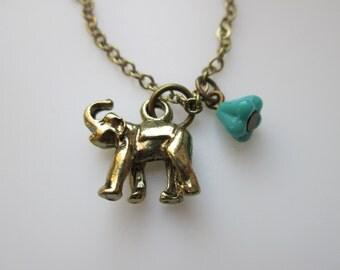Elephant Necklace, Elephant Charm, Baby Elephant, Antique Gold Elephant, Safari Necklace, Vintage Style Elephant Necklace