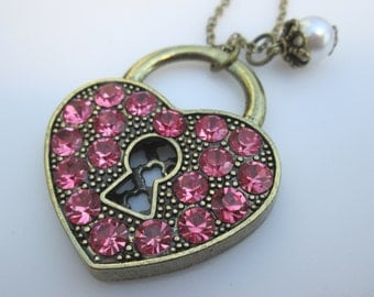 Pink Locked Heart Necklace, Pink Crystal Studded Heart Padlock, Pink Promise Lock