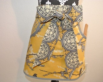 Gold/Gray Adult Half Apron with Pockets