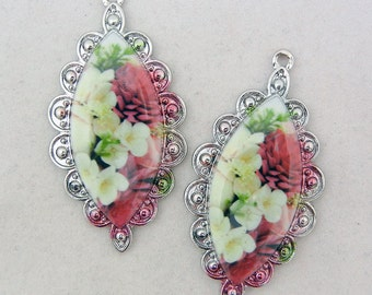 Pair of Silver-tone Flower Print Drop Charms Marquis Shape