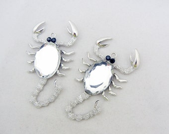 2 Large Textured Silver-tone Scorpion Pendants Faceted Acrylic Cabochon- Choose Your Color