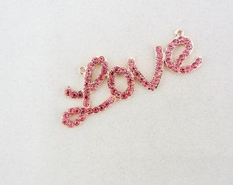 Pink Rhinestone Love Pendant Gold-tone Double Link