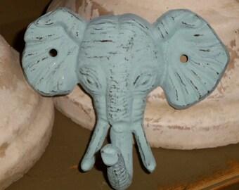 Elephant Cast Iron Milk Paint Pale Blue Wall Hook/Cast Iron Hook