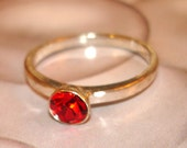 vintage faux ruby large silver ring