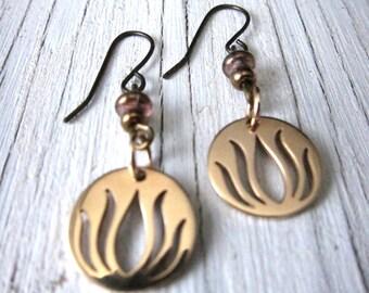 Bronze LOTUS Flower Earrings Yoga Inspired Handmade Earring Dangle Earring New Beginnings Spiritual Earrings by SusanHeleneDesigns