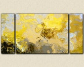 """Abstract art print triptych oversize canvas print, 30x60 to 40x78, in yellow, gray and white, from abstract painting """"Mellow Yellow"""""""