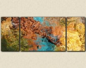 "Very large triptych art stretched canvas print, 30x72 to 40x90, in earthy hues, from abstract painting ""Chocolate Persuasion"""