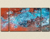 "Large triptych abstract art stretched canvas print, 30x60 to 40x78 in turquoise and copper, from abstract painting ""Southwest Spirit"""
