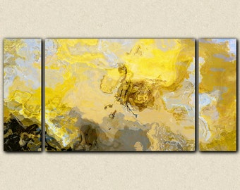 "Abstract art print triptych oversize canvas print, 30x60 to 40x78, in yellow, gray and white, from abstract painting ""Mellow Yellow"""