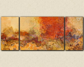 "Extra large triptych abstract art, 30x72 to 40x90 giclee canvas print, in red orange and tan, from abstract painting ""Magma"""