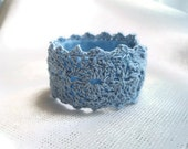 Blue Thread Crochet Cuff Bracelet Hypoallergenic Assorted Colors Available Handmade by handcraftusa Etsy