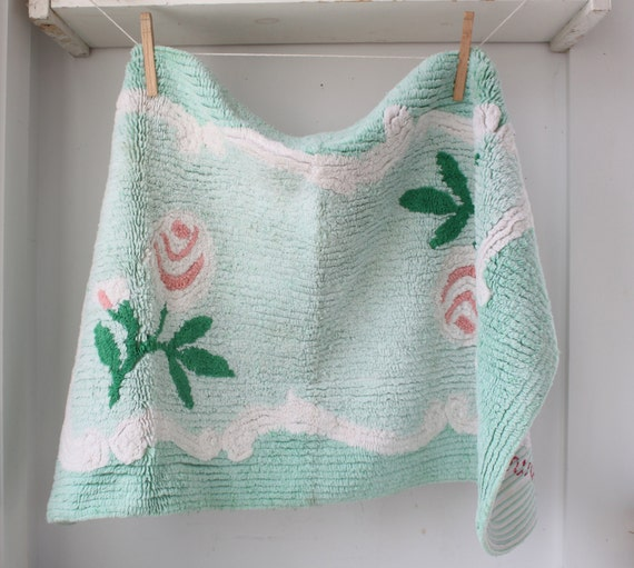 Vintage 1950s Chenille Rug Salmon Pink Mint Green Bath Mat