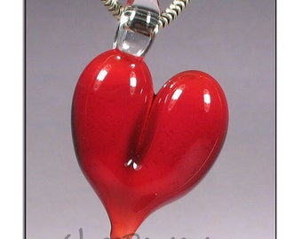 Heart Pendant - glass focal lampwork bead - Glass Peace glass jewelry (4793)