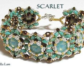 SCARLET Swarovski Rivoli and SuperDuo Beadwork Bracelet tutorial instructions for personal use only