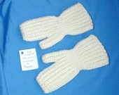 Crochet Wool Mittens  White Fits 5 to 7 Year Old