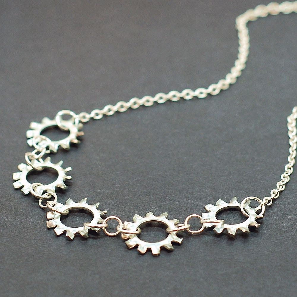 Industrial Hardware Jewelry Silver Lock Washer Necklace