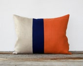Orange Spice Colorblock Pillow with Navy and Natural Linen Stripes by JillianReneDecor (12x16) Modern Home Decor - Stripe Trio Pumpkin Koi