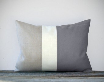 Minimal Color Block Decorative Pillow with Gray, Cream and Natural Linen Stripes by JillianReneDecor Modern Home Decor - Grey Pillow