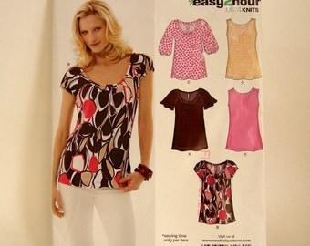Sewing Pattern NEW LOOK size 8 - 18 UNCUT Blouse Top easy 2 hour  round neck sleeve variations
