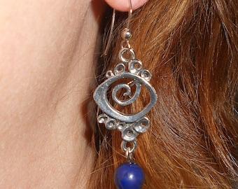 Bohemian earrings, blue earrings, dangle earrings, abstract earrings, mothers day gift, boho earrings,drop earrings, boho chic jewelry