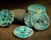 Turquoise Blue Sew on Ceramic Buttons 8 piece Set