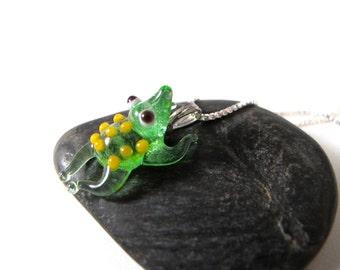 Frog Pendant with Yellow Polka Dots