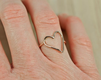 Handmade Solid Gold Heart Ring, 14K Rose Gold, Anniversary Love Gift, Sea Babe Jewelry